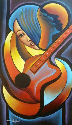 "Arte haitiano, pintura de la lona, arte de la lona, Arte Original, mujer y guitarra - arte moderno, arte caribeño, arte de Haití - 20 ""x 36"" - 273"
