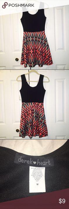 Derek Heart dress Black top, printed bottom. NEVER WORN! NEW WITH TAGS! Derek Heart Dresses Mini