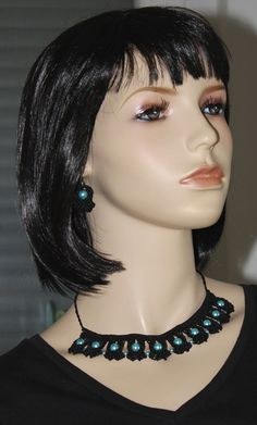 Macrame set, necklace and earpieces, leaf design, black and lightblue, beads Diy Jewelry Set, Macrame Jewelry, Leaf Design, Chokers, Beads, Fashion, Chain, O Beads, Moda
