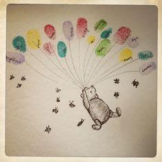 [24.11.13] Winnie Puuh, ein Elefant, ein Kinderwagen, ein Tandemrad mit Anhänger... eigentlich kann man an alles Luftballons binden und ein Baby-shower-Gästebuch draus machen ;-)