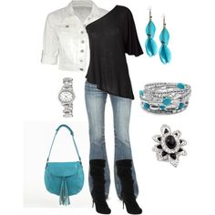 Casual - Black Turquoise Silver