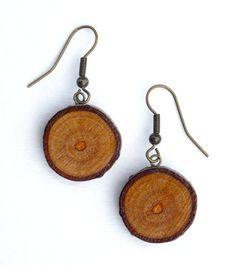 Wood Earrings by LinzZuelich on Etsy, $15.00