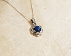 lapis lazuli necklace  gemstone necklace  braided pendant necklace   delicate small necklace (45.00 USD) by JewellRay