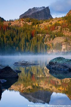 Bear Lake, Rocky Mountain National Park, Colorado. Love the gorgeous autumn colors reflected on the lake!