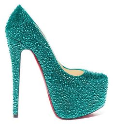 Dolphins teal <3 loubatins in swarovski rhinestones. One day I will have saved up enough money to buy them.