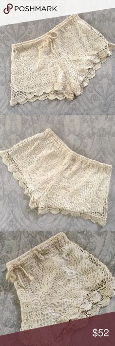 NWT LF Cream Crochet Knit Shorts LF cream crochet knit shorts. Size says M/L, though they would comfortably fit a size 4-6. Shorts are lined and feature an elastic waistband + drawstring closure. NWT, never worn. LF Shorts