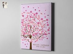 SALE 50% Off Canvas Guest Book Alternative, Signature Cherry Blossom Tree Guest Book, Spring Wedding Signature Art, FREE SHIPPING! - CGB56 - Wedding guestbooks (*Amazon Partner-Link)