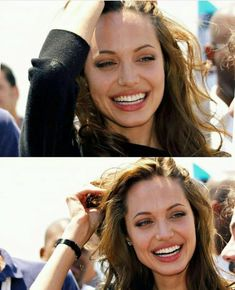 Sep 2019 - Angelina Jolie Fan — Funny Angelina. She seemed so embarrassed! Angelina Jolie Makeup, Angelina Joile, Brad Pitt And Angelina Jolie, Jolie Pitt, Hollywood Actresses, Actors & Actresses, Beautiful Celebrities, Beautiful Women, Beautiful Smile
