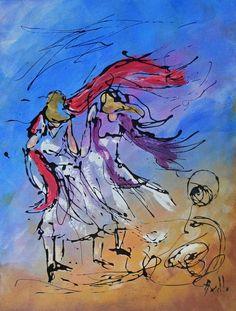 Tableau Design - Femmes dans le vent - peintures-axelle-bosler : Peintures par peintures-axelle-bosler