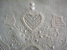 Types Of Embroidery, White Embroidery, Beaded Embroidery, Embroidery Patterns, Cross Stitch Boards, Fibre And Fabric, Crochet Butterfly, Drawn Thread, Contemporary Embroidery