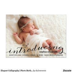 Elegant Calligraphy   Photo Birth Announcement