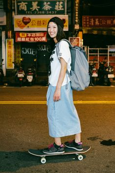 Asian Street Style, Street Style Summer, Street Style Women, Asian Street Fashion, Street Fashion Photoshoot, Skirt Fashion, Fashion Outfits, Women's Fashion, Urban Fashion