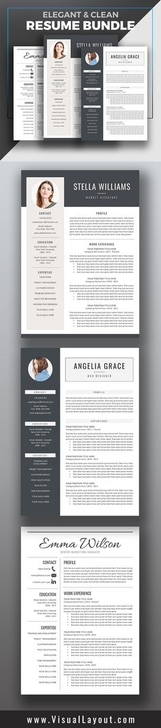 Professional Resume Template + Cover Letter \/ CV Template Word(US - professional resume template word