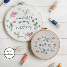 Thankful You're My Mom Embroidery Pattern Handmade
