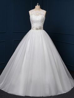 Ball Gown White Tulle Sweep Train with Beading Gorgeous Wedding Dress - dressesofgirl.com