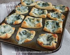 Spinach Dip Bites - Rice And Chicken Recipes Finger Food Appetizers, Appetizer Dips, Finger Foods, Appetizer Recipes, Dinner Recipes, Yummy Appetizers, Pampered Chef Recipes, Cooking Recipes, Cooking 101