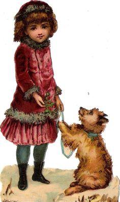 Oblaten Glanzbild scrap die cut chromo Winter  Kind child 13,5 cm Hund dog chien