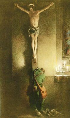 The Return by Charles Chambers. This painting can be found at Holy Innocents Church in New York. The artist had just attended Mass when he noticed a young soldier kneeling at the foot of a crucifix. He was so moved that he started work on this painting. Catholic Art, Roman Catholic, Religious Art, Jesus Pictures, Catholic Pictures, Blessed Mother, Sacred Art, Christian Art, Ikon
