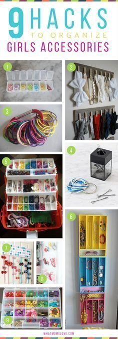 How to organize girls hair accessories, bows, elastics Hacks, Tips and Tricks for Organized, Stress-Free Mornings with kids Organisation Hacks, Kids Room Organization, Clothing Organization, Storage Hacks, Storage Ideas, Hair Bow Organization, Organizing Tips, Diy Organizer, Storage Organizers