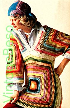 Granny Square CROCHET PATTERN Instant Download Pdf Hippie Boho Granny Square Triangle Pullover Top 1970s Vintage Beso by VintageBeso on Etsy