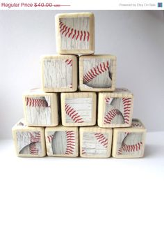 Christmas in July Sale Baseball Baby Blocks. Wood blocks for children. Sports theme nursery decor. Baby shower decoration. For Boys. New ba