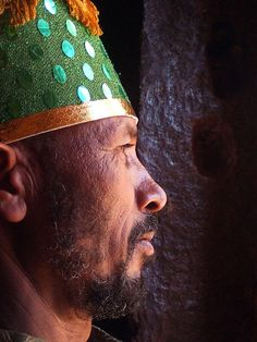 LALIBELA    Profile of a local orthodox priest in one of the stone carved churches  of Lalibela.Ethiopia