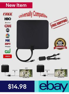 Portable Digital TV Antenna with Detachable Suction//Clip Mount For TV Tuner