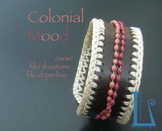 Croquet work on dark brown leather and little pearls wire. Handmade by BarlumeManod'Opera.