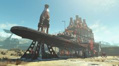 Big Bottle Boulevard [A Fallout 4 Settlement & Love Letter to a Nukaholic] Video Game Rooms, Video Games, Fallout 4 Settlement Ideas, Fallout Facts, Bethesda Games, Big Bottle, Fall Out 4, Post Apocalypse, Futuristic