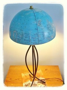 In today's GOOD NEWS: I salvaged a vintage globe and turned it into a lampshade! The globe's owner – my aunt – tried for years to repair the decades-old globe (which had split apart and would no longer stand upright on its bent, rusted metal base). Globe Vintage, Vintage Maps, Handmade Jewelry Business, Globe Crafts, Map Crafts, Old Globe, Globe Lamps, Small Living Room Design, Diy Holz