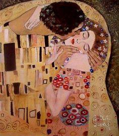 Pocałunek,moja kopia wg. G .KLIMTA. Olej na płótnie