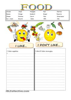 likes and dislikes - English ESL Worksheets for distance learning and physical classrooms English Activities For Kids, English Worksheets For Kids, English Lessons For Kids, Kids English, Fun Activities, Vocabulary Worksheets, English Vocabulary, Printable Worksheets, Likes Y Dislikes