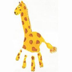 10 Easy Handprint Crafts for Kids - Grandparents.com | Add a neck and it's a giraffe.
