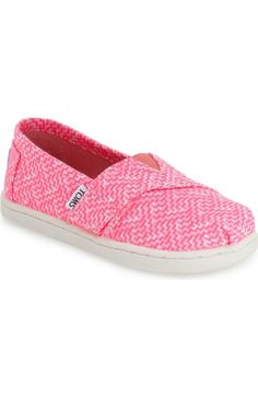 TOMS 'Classic - Neon' Printed Slip-On (Baby, Walker & Toddler)