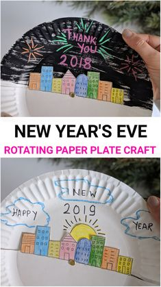 Year's Eve Paper Plate Craft for Kids Celebrate New Year with kids by making this fun paper crafts.Celebrate New Year with kids by making this fun paper crafts. Paper Plate Crafts For Kids, Winter Crafts For Kids, Crafts For Kids To Make, Paper Crafting, New Year's Eve Crafts, Fun Crafts, Crafts Cheap, Holiday Crafts, Holiday Ideas