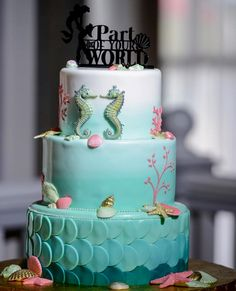 Best. Cake. Ever. Inspired from The Little Mermaid created by Disney Weddings. Follow them in Instagram: @disneyweddings