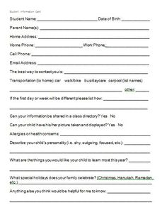 MTT parent question form