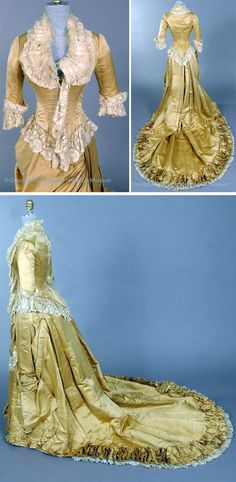 """Evening gown or wedding dress, Newcomb Endicott, Detroit, 1882. Two pieces, gold-colored silk satin. Boned bodice has deep points front & back. Laced center front closing with elbow-length sleeves. Deep """"U"""" neckline filled with ecru lace and embroidered net, and has fringed ruching. Lace on bottom of bodice and at sleeves. Bustle-back skirt with very long train with irregular pleats. Front hem has pleated, upturned curves. Draped panel at left side. Lined with buckram. Detroit Historical Museum"""
