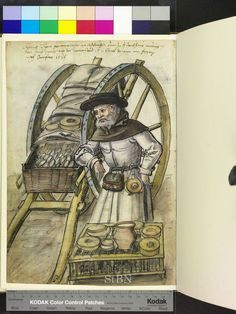 1518 cheese monger. chicken cage, cart, basket, belt pouch, cheese moulds  Die Hausbücher der Nürnberger Zwölfbrüderstiftungen