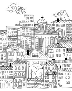 'Doodle town ' Photographic Print by Katerina Kirilova Cute Coloring Pages, Adult Coloring Pages, Coloring Sheets, Coloring Books, Mindfulness Colouring, Building Illustration, Doodle Lettering, Bullet Journal Art, Doodles Zentangles