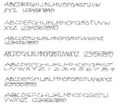 Examples of architectual lettering and printing techniques.
