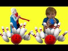 Frozen ELSA play bowling with Spiderman w/ UGLY KID BOY Pregnant ELSA Sp...