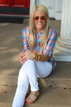 Fun colored flannels and white skinny jeans with sandals and accessories!