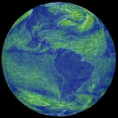 "A realtime glimpse of global wind patterns designed by software engineer Cameron Beccario | similar to ""wind map"" and ""perpetual ocean""..."