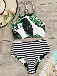 Random Leaf Lace-up Top With Striped Bikini Set Check out this Random Leaf Lace-. Random Leaf Lace-up Top With Striped Bikini Set Check out this Random Leaf Lace-up Top With Striped Bikini Set on Shein and explore more to meet your fashion needs! Bathing Suits For Teens, Summer Bathing Suits, Cute Bathing Suits, Cheeky Swimsuits, Monokini Swimsuits, Women Swimsuits, Mermaid Bathing Suit Toddler, Blue One Piece Swimsuit, Bikini Outfits