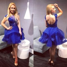This is the cutest dress ever! Add this little royal blue dress to your collection today dresses Puffy Dresses, Cute Dresses, Beautiful Dresses, Prom Dresses, Unique Dresses, Formal Dresses, Blue Bridesmaid Dresses Short, Short Dresses, Grade 8 Grad Dresses