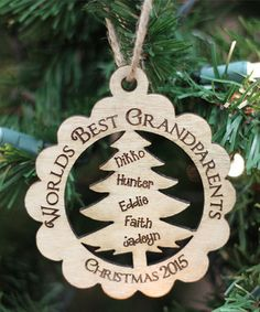'World's Best Grandparent's' Birch Personalized Ornament