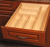 Solid Wood Drawer Box Organizers help you organize your cutlery and other kitchen utensils. Many designs are available, all made to exact size requirements.