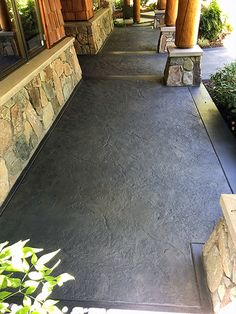 """Color Mist water based concrete stain was used in """"grey"""" along with Creto Deep Penetrating Sealer, and a three coat clear topical sealer. Stained Concrete Porch, Concrete Front Porch, Concrete Backyard, Concrete Patio Designs, Concrete Driveways, Backyard Patio, Colored Concrete Patio, Concrete Patio Stain, Stamped Concrete Colors"""