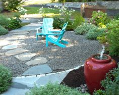 Pea Gravel Landscape Design. I love this  website and the zillion ideas. This picture is our next project  with a hammock tucked away in a corner.